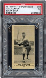 1916 M101-5 Sporting News Joe Jackson #86 (Blank Back)