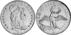 Obverse and reverse view of the 1798 Small Eagle.