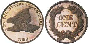 Only about a hundred 1858 flying eagle Proofs are known, at most