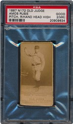 1887 N172 Old Judge Amos Rusie (Pitch, Right Hand Head High at Side)