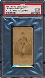 1887 N172 Old Judge Charlie Parsons (Pitch, Ball in Left Hand, Away From Body, Right Knee Bent)