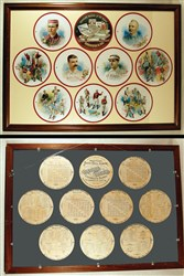 1889 A35 Goodwin & Co. Baseball Round Album Framed to Display Page Fronts and Backs