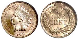 In 1908, Indian Cents were minted for the first time at a branch mint, such as this 1908 San Francisco issue