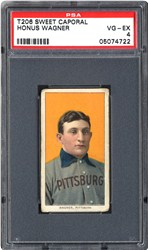 This PSA VG-EX 4 is just one of the many T206 Wagner cards on display.