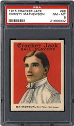 PSA will give away free prizes including this 1915 Cracker Jack Christy Mathewson card, graded PSA 8 and valued at $12,000, in the PSA Set Registry® 'The Race To 100,000' sweepstakes