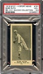 1916 M101-4 Sporting News Babe Ruth #151 (P.-Boston, Blank Back)