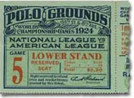 1924 World Series Ticket Stub - Senators @ Giants
