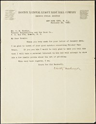 Christy Mathewson Signed Letter from 1925