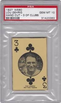1927 W560 Hand Cut Lou Gehrig (3 of Clubs)