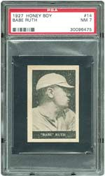 This PSA 7 NM example of the seldom-seen 1927 Honey Boy Babe Ruth card sold for $9,184.