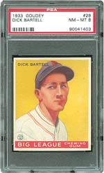 This 1933 Goudey #28 Dick Bartell in PSA 8 NM-MT brought $5,705.