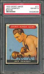 The ever-popular 1933 Goudey Sport Kings set contains several important cards, including boxing icon Jack Dempsey