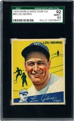 1934 World Wide Gum Co. #92 Lou Gehrig