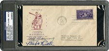 1939 Baseball Hall of Fame First Day Cover Signed by Eleven Inaugural Inductees - Sold for: $41,435