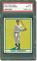 1941 Play Ball #18 Hank Greenberg (PSA 9 MINT) - sold for $12,816.