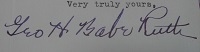 1943 Babe Ruth Signed Letter (Closeup)