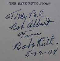 1948 Babe Ruth Signed Book