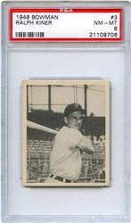 Lot 1: 1948 Bowman Kiner RC PSA 8