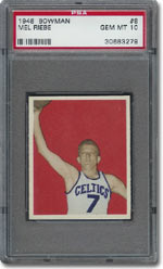 1948 Bowman Basketball #8 Mel Riebe, PSA 10, sold for $7,370.
