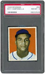Campy's 1949 Bowman rookie card is always in demand