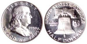 Proof Franklin halves were first minted in 1950
