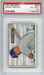 Lot 1: 1951 Bowman Mantle RC PSA 4.5