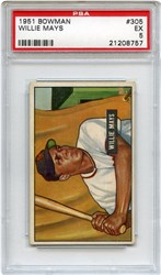 Lot 2: 1951 Bowman Mays RC PSA 5