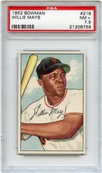 Lot 2: 1952 Bowman Mays PSA 7.5