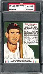 PSA NM-MT 8 1952 Red Man Ted Williams - sold for $14,967.
