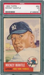 1953 Topps Mickey Mantle #82