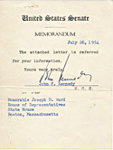 1954 John Kennedy Signed Document