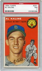 Lot 5: 1954 Topps Kaline RC PSA NM 7
