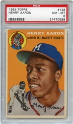 Lot 1: 1954 Topps Aaron RC PSA 8