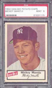 One of only three 1954 Dan Dee Mantles graded PSA 9 Mint by PSA