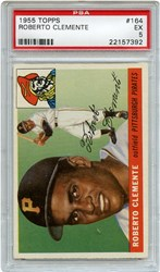 Lot 2: 1955 Topps Clemente RC PSA 5