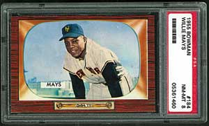 1955 Bowman Willie Mays #184 PSA NM-MT 8, offered in Mastronet auction