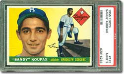 1955 Topps #123 Sandy Koufax PSA 9 MINT - sold for $15,850