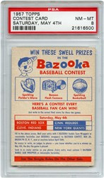 Lot 8: 1957 Topps Contest PSA 8