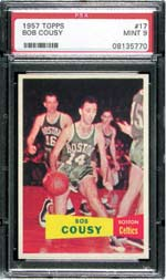 Bob Cousy's rookie card highlights another Celtic star in the popular 1957 Topps set.