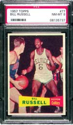 Bill Russell's 1957 rookie card is one of the most desirable in the basketball hobby.