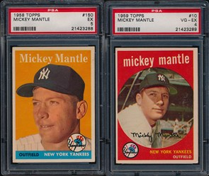 1958 and 1959 Topps Mickey Mantle cards