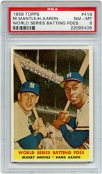 Lot 8: 1958 Topps Mantle Aaron PSA 8