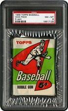 1958 Topps Baseball Unopened 5 Cent Wax Pack (6th series) NM-MT PSA 8 - Sold for: $14,351