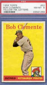 1958 Topps Bob Clemente #52 (Yellow Letters) PSA NM-MT 8 finds a new home at $6,064