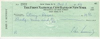 1959 John Kennedy Signed Check