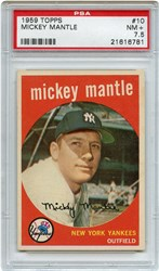 Lot 10: 1959 Topps Mantle PSA 7.5