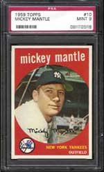 One of the keys to the find, a PSA Mint 9 Mantle