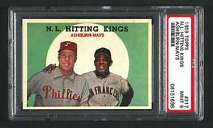 1959 Topps N.L. Hitting Kings PSA 9 Mint is sold for $3,739