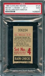 1960 Cleveland Indians Stub - Red Sox-3, Indians-1 - Jun.17 (Ted Williams 500th Home Run)