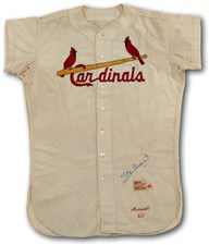 1960 Stan Musial Signed St. Louis Cardinals Game Worn Home Jersey - Sold for: $45,578